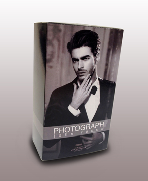 Luxury fragrance product box. Offset print, die cut.